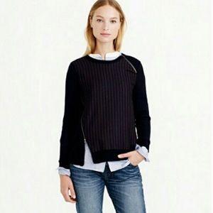 J Crew Pinstripe Merino Wool Sweater